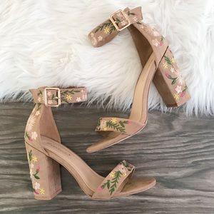 Audrey Embroidered Block Heel